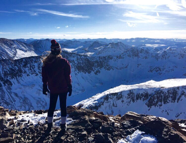 A view of the Sawatch Range from the top of Quandary Peak in February.
