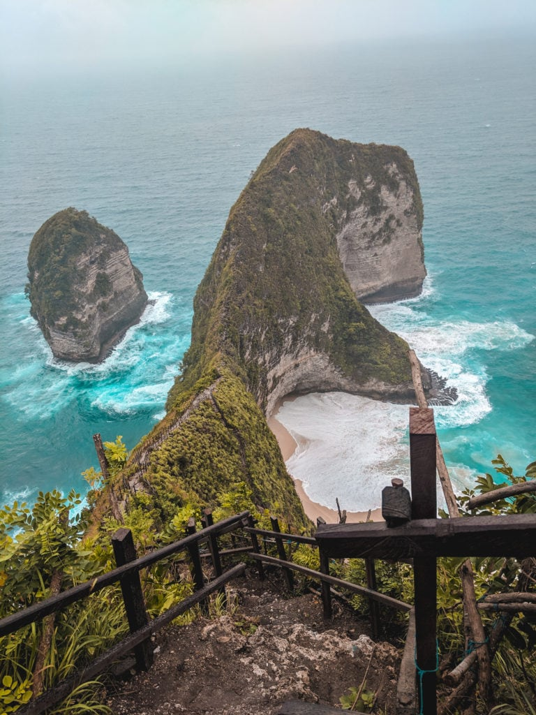 Kelingking beach and hidden cave in Bali, Indonesia
