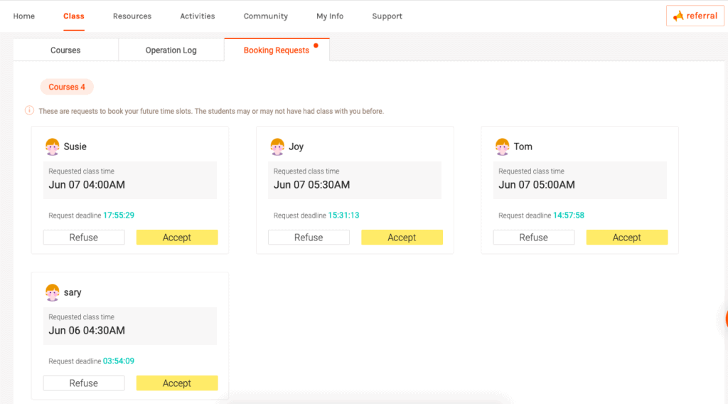 Managing booking requests through the teachers portal