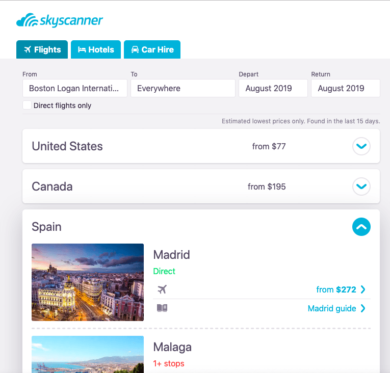 """A list of the cheapest cities to fly into with the Skyscanner """"Everywhere"""" function. Skyscanner cheap flights"""