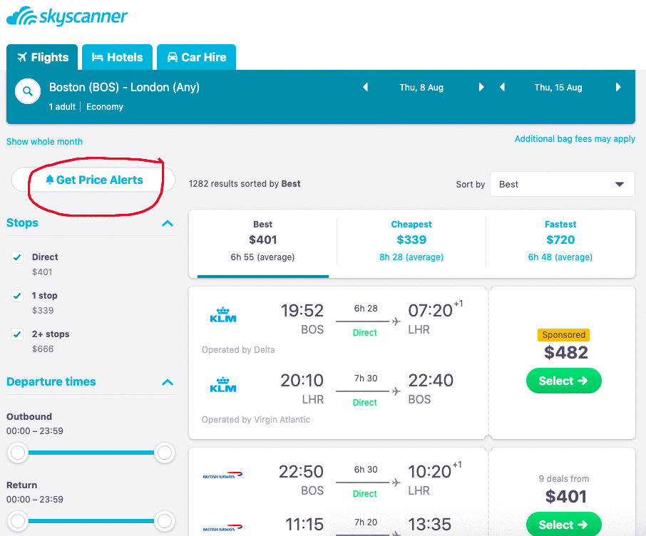 Set up price alerts with Skyscanner to start getting notifications about your flight price.