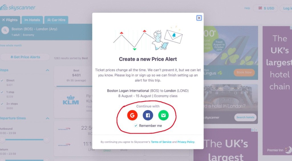Sign up for Skyscanner notifications and get flight price updates sent directly to your email.