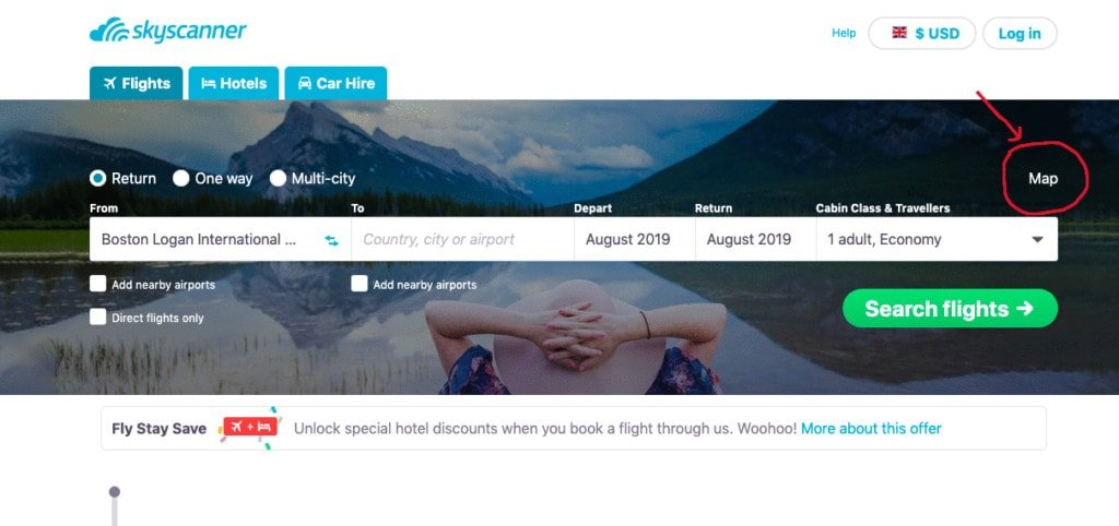 The map feature with Skyscanner. Skyscanner cheap flights. Decide where in the world to fly with this function.