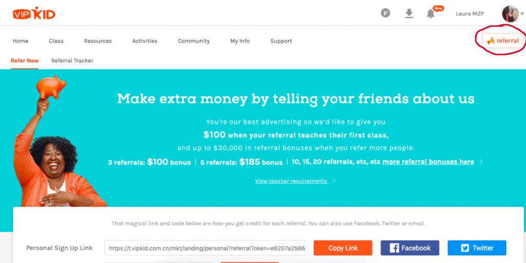 VIPKID referral information, referral tracking, and referral codes.