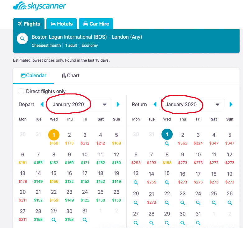 Cheapest month feature displayed on Skyscanner. Find the cheapest flights possible through the cheapest month option.