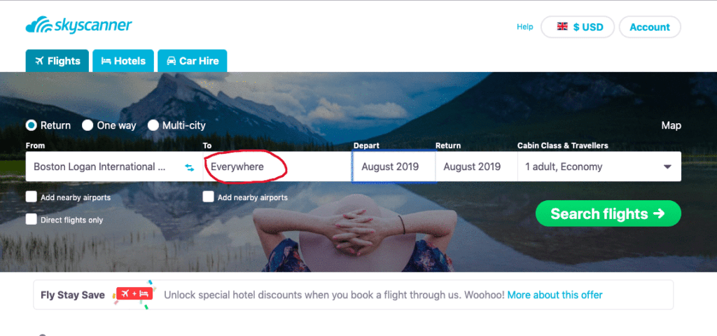 Skyscanner cheap flights. Use the Everywhere function to find the cheapest destinations to fly into.