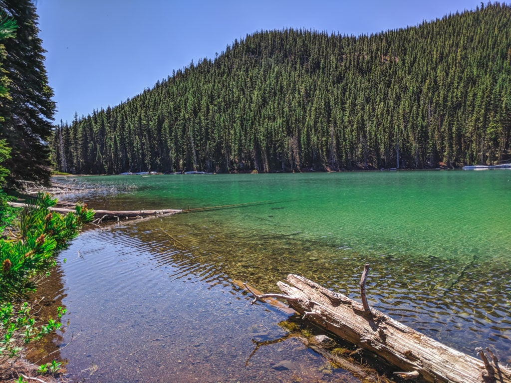 The green waters of Devil's Lake, located at the foot of Mount Bachelor.