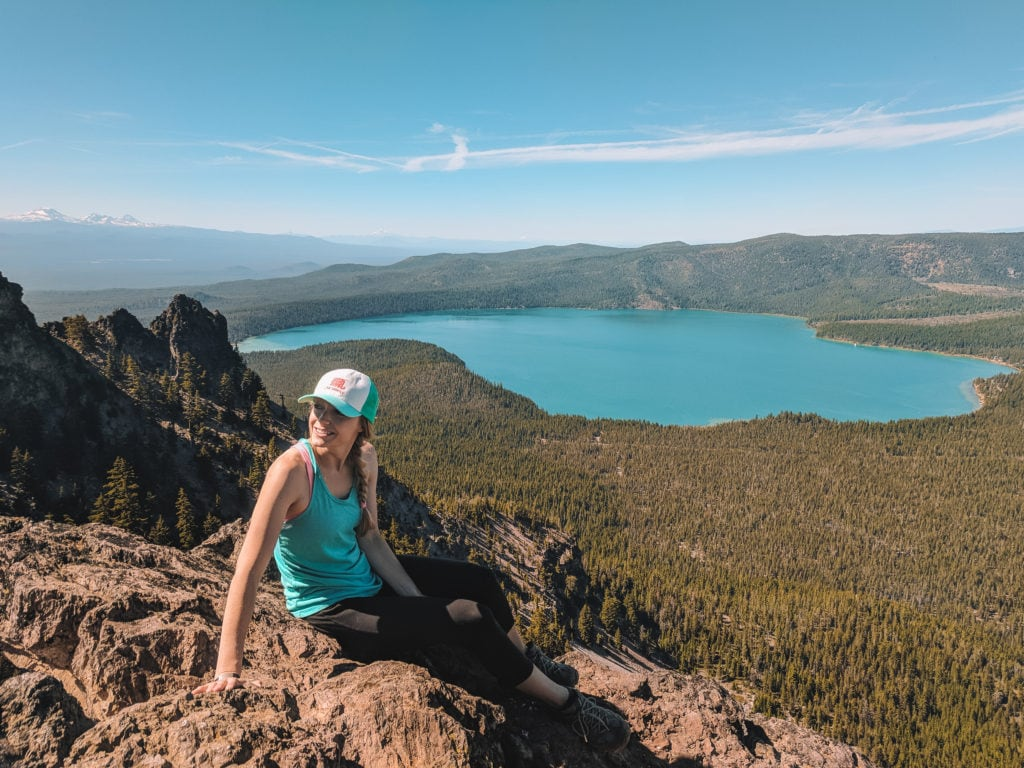 A view of Paulina Lake from the top of Paulina Peak. An epic adventure hike for summer in Central Oregon
