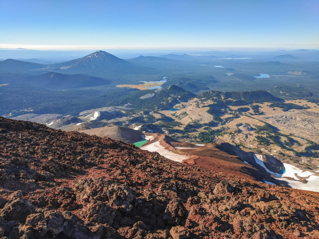 A view of the Cascade mountain range from the top of South Sister after summiting for sunrise.