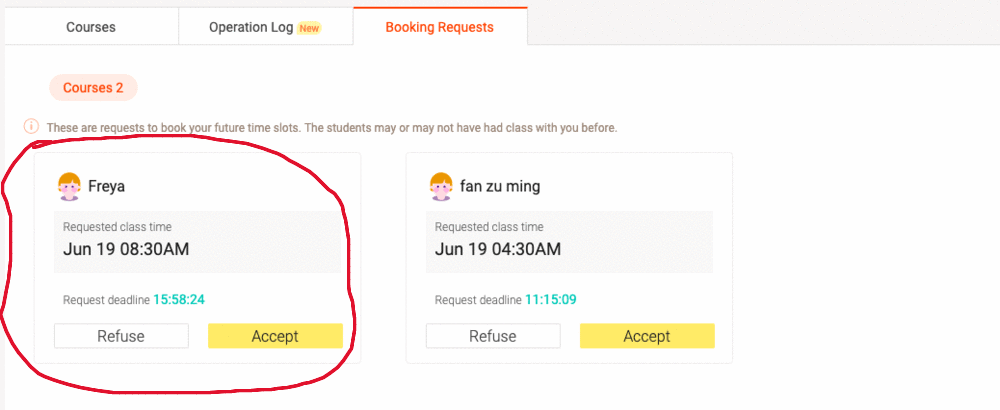 A priority booking request on VIPKID