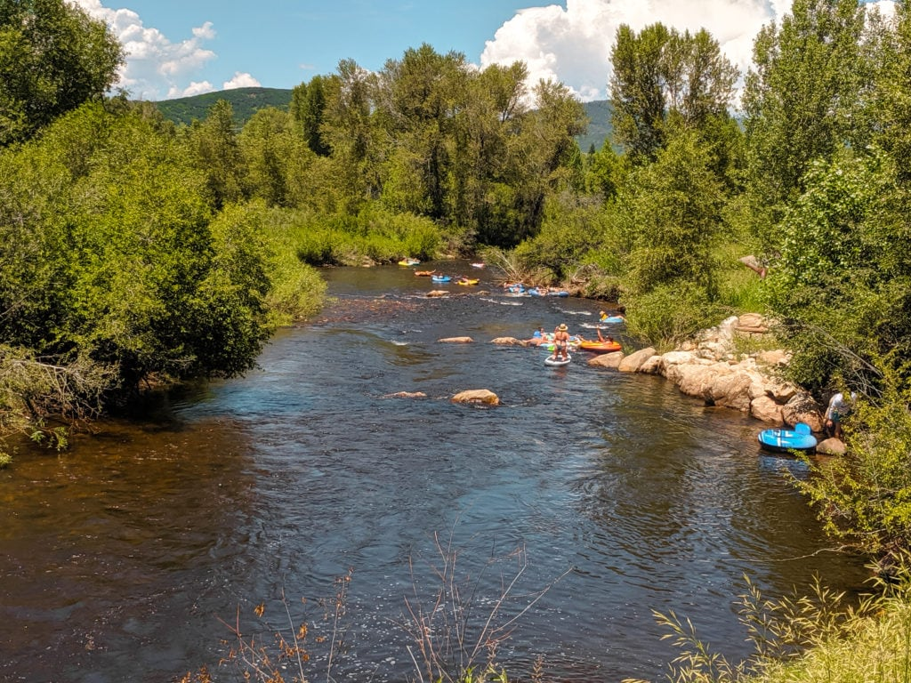 Tubers on the Yampa River in Steamboat Springs