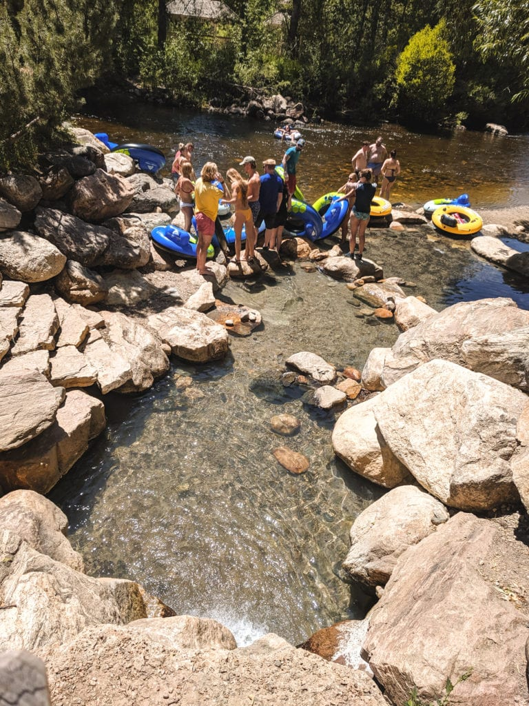 Hippie hot springs is located on the banks of the Yampa River.