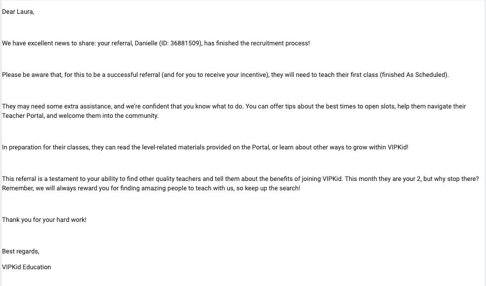 Is VIPKID Legit? Successful Referral Email
