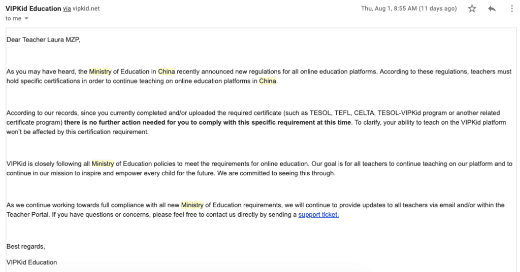 VIPKID Teacher Requirements Via the Ministry of Education in China