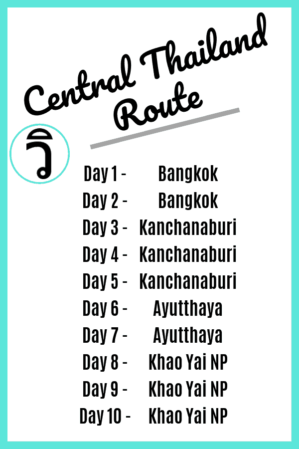 Thailand Itinerary 10 Days - the Central Thailand Route
