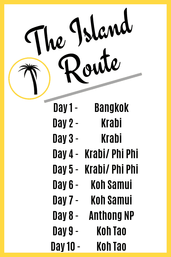 Thailand Itinerary 10 Days - The Island Route