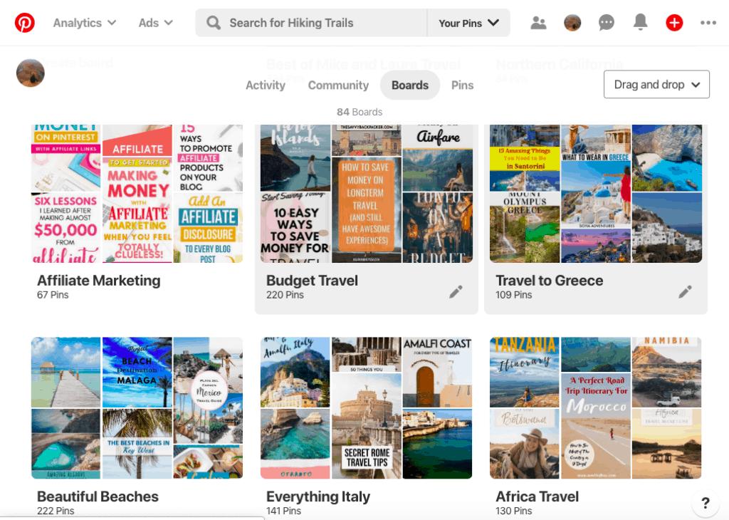Naming your Travel Blog Pinterest Boards