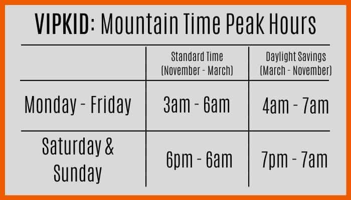 VIPKID Mountain Time Peak Hours