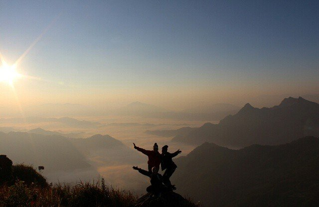 The Sun Rising Over the Mekong Valley- Phu Chi Fa