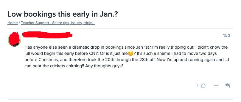 VIPKID Chinese New Year Low Bookings
