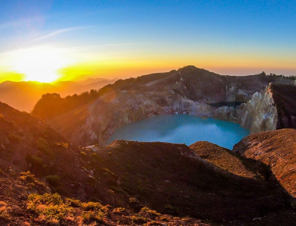 Sunrise on Flores Island Volcano
