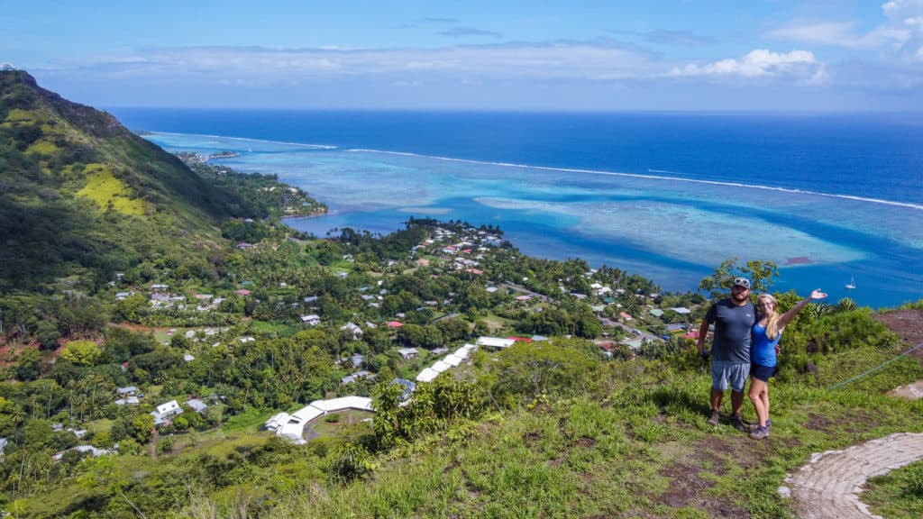 A beautiful view of Opuhonu Bay from the top of Magic Mountain. Whether you hike or drive up to the top, this is one of the best things to do in Moorea.