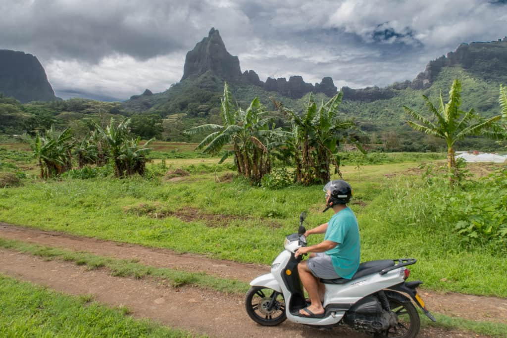 One of the easiest way to get around the island of Moorea is by motorbike.