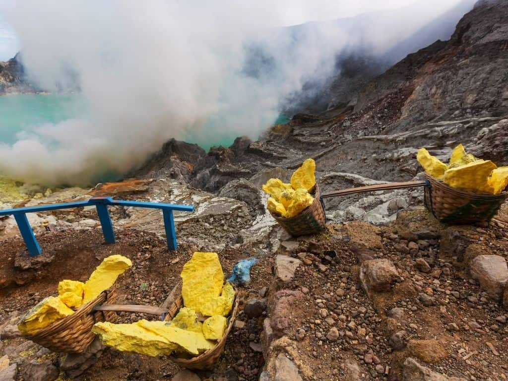 The sulfur miners at Mt Ijen work long and grueling hours. This is one of the most demanding jobs in the world.