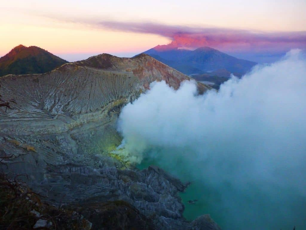 Sunrise on Mt Ijen during our hike into the crater