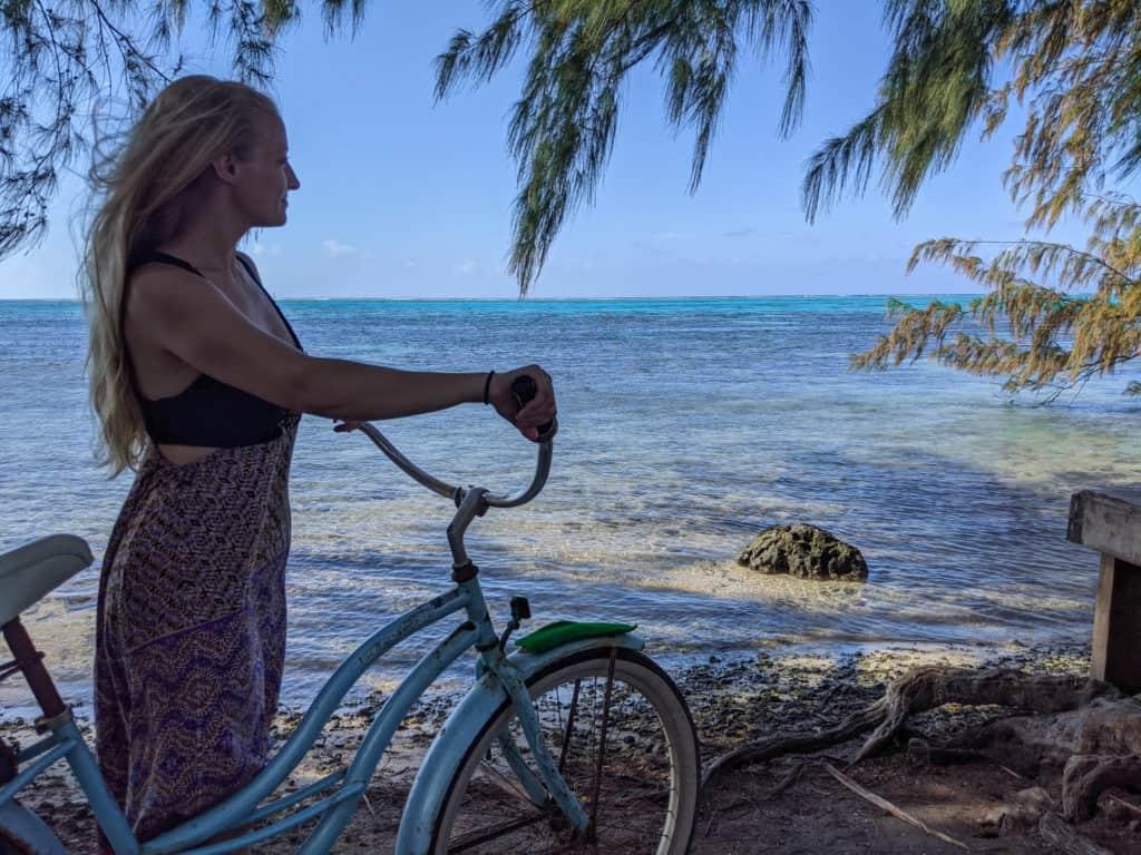 Biking around the island in the French Polynesia