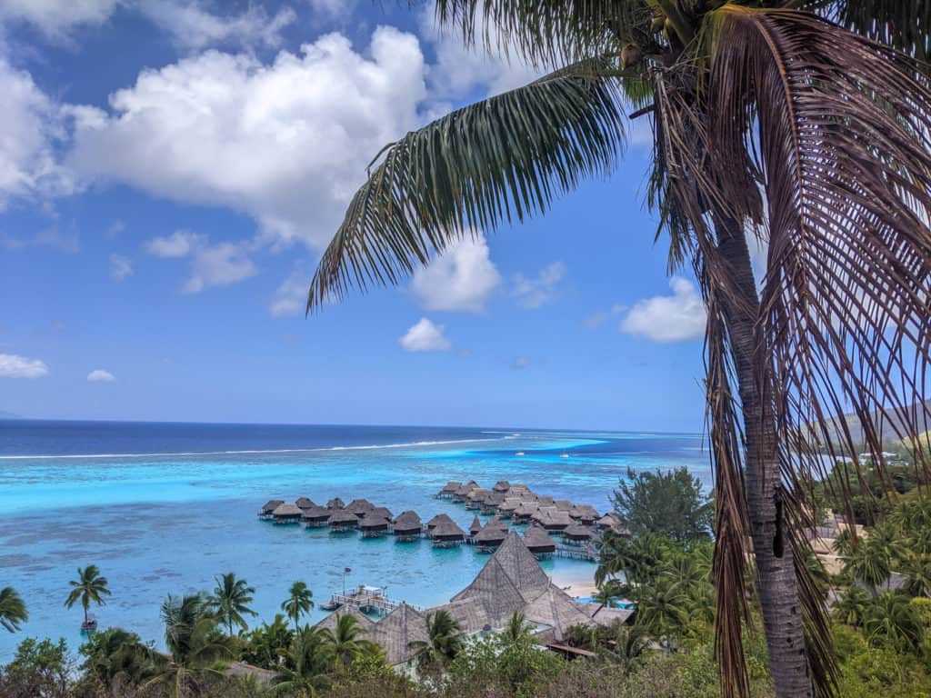 An overhead view of the overwater bungalows at the Sofitel Resort and Spa Moorea from Toatea Lookout Point
