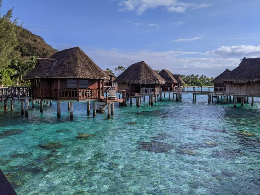 Overwater bungalows at the Sofitel Resort and Spa on the island of Mo'orea in the French Polynesia