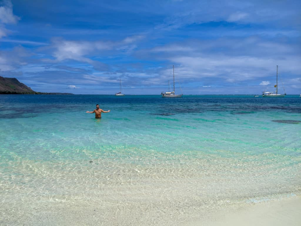 The beautiful ocean view from Ta'ahiamanu Beach. Relaxing on the beach is one of the best things to do in Moorea.