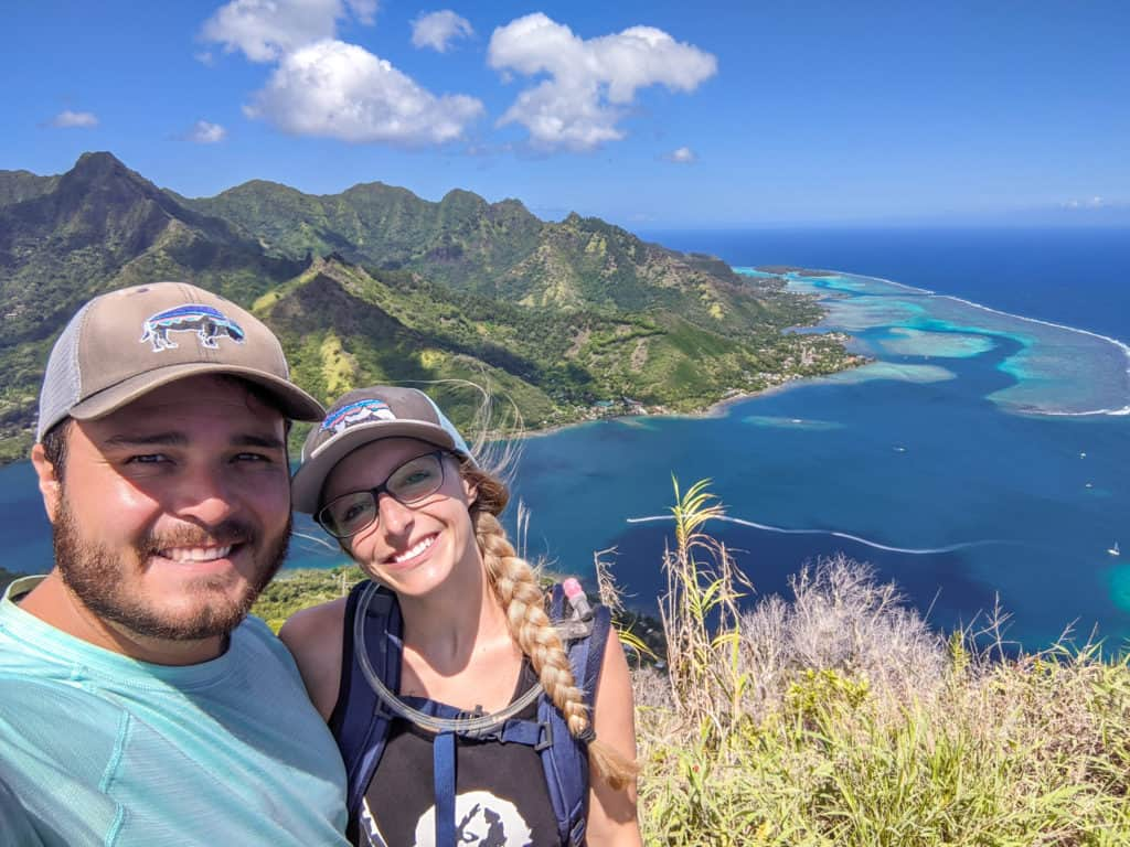 The view of Opuhonu Bay from the top of Mount Rotui. Hiking Mount Rotui is one of the best things to do in Moorea.