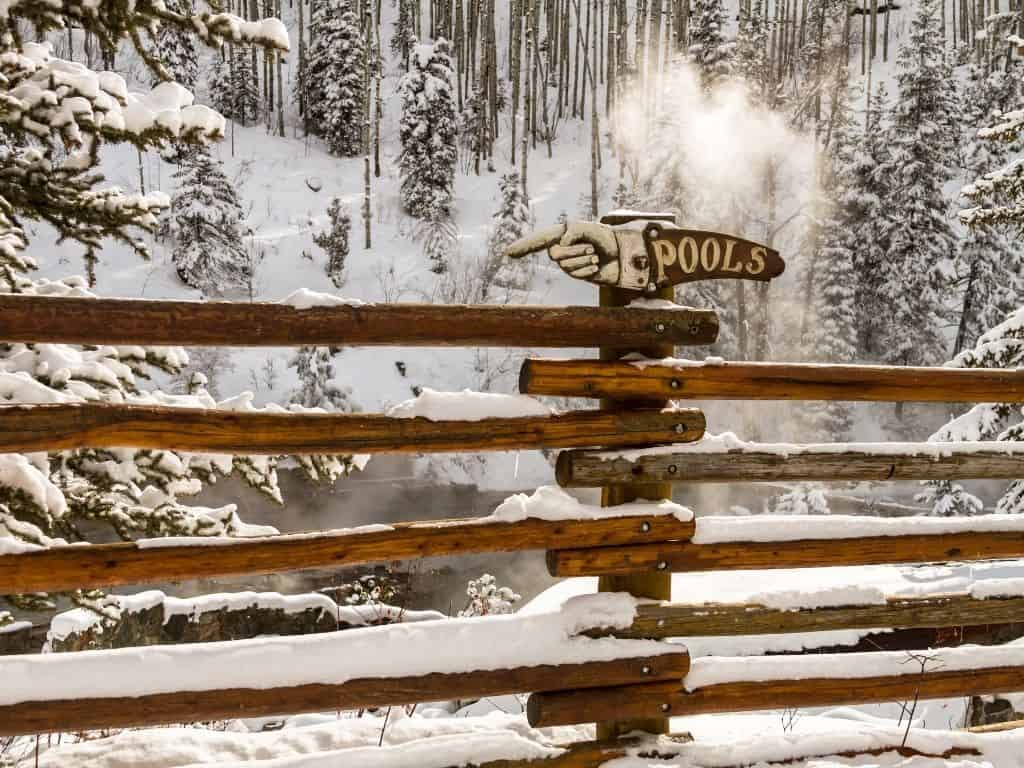 Strawberry Park Hot Springs in winter located just outside of the small ski town, Steamboat Springs, in northern Colorado