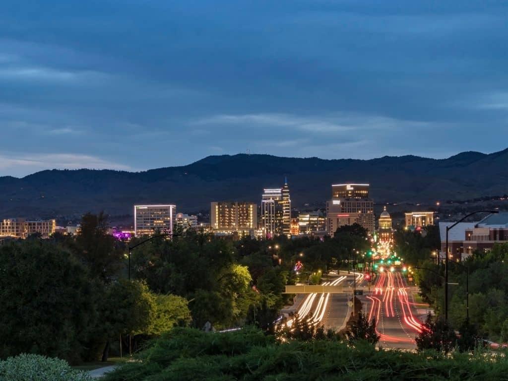 A calm night in Boise, Idaho