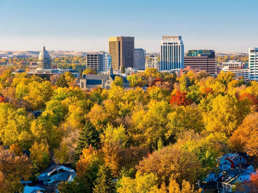 Fall trees turning colors surrounding Boise, Idaho. A visit to Boise, Idaho during the fall is absolutely magical.
