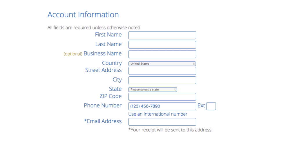 Fill Out Your Personal Information on Bluehost Website