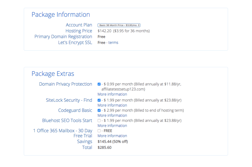 Select Your Package Add-Ons