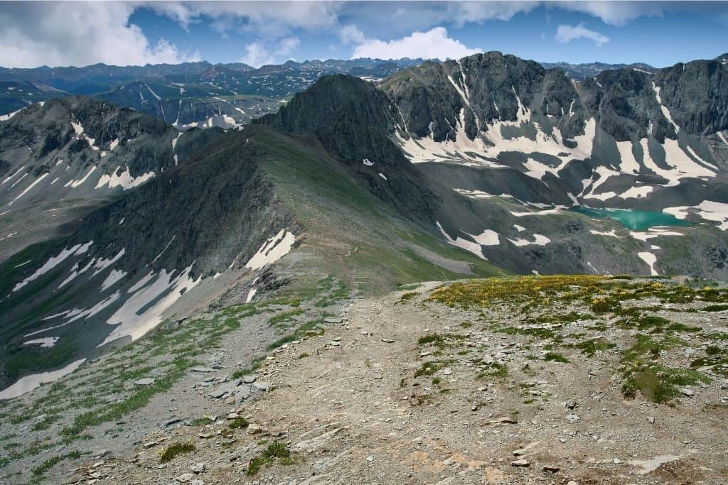 Handies Peak is one of the furthest 14ers from Denver. It is located in the San Juan Range and it is one of the easiest 14ers to hike in Colorado