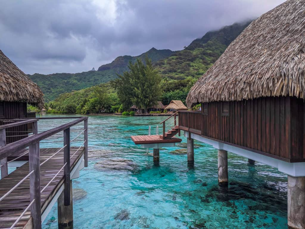 A few of the overwater bungalows at Sofitel Moorea