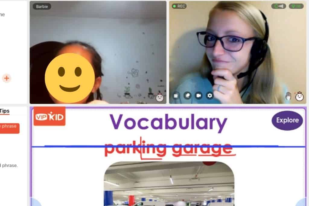 A screenshot of my class with a VIPKID student.