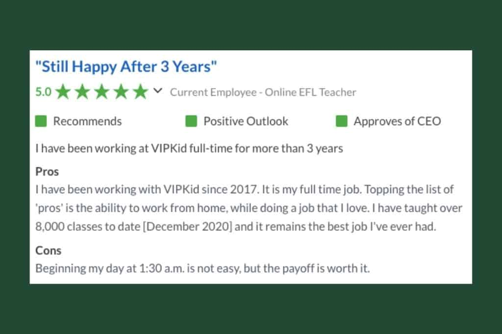 Positive reviews of VIPKID from an experienced teacher