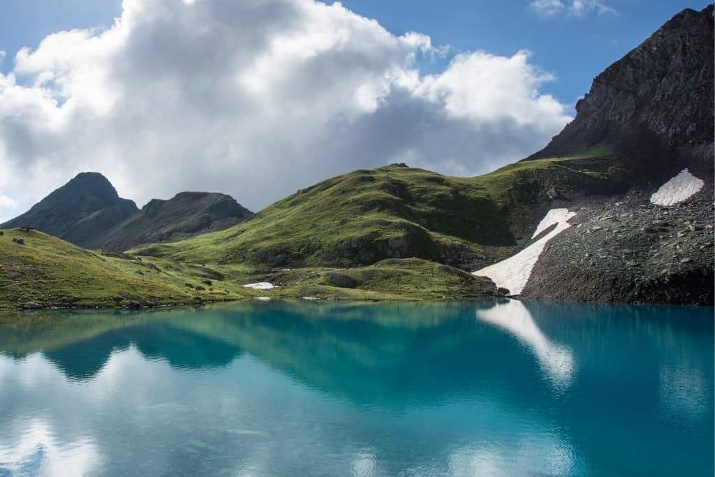 The view of Columbine Lake in Silverton, Colorado in summer.
