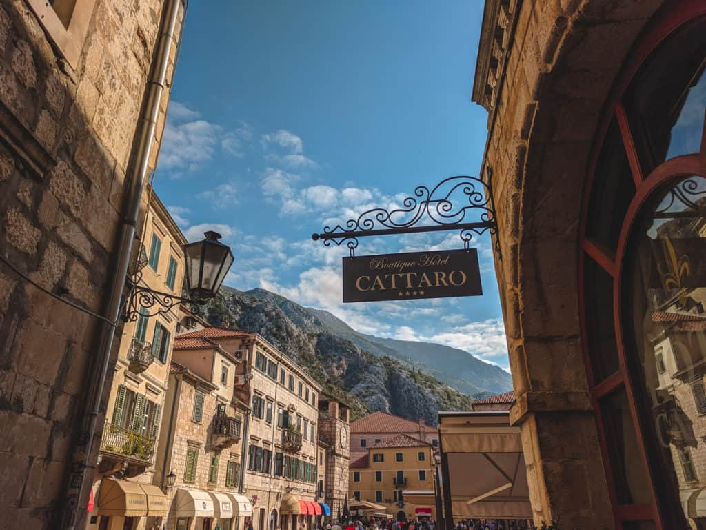Cattarro sign in Kotor, Montenegro