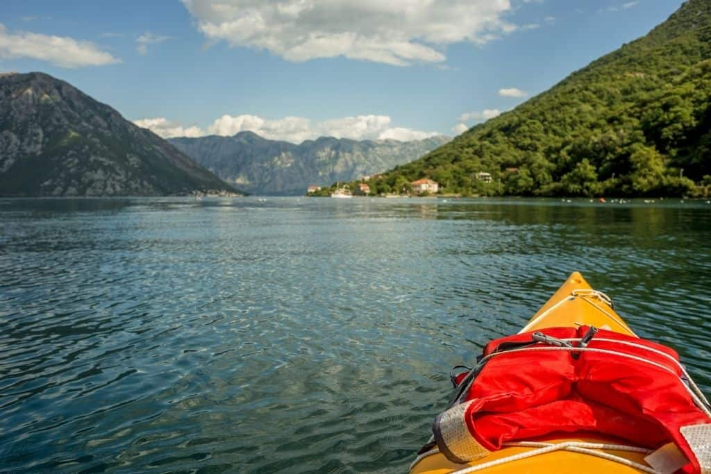 View of Boka Bay from a kayak.