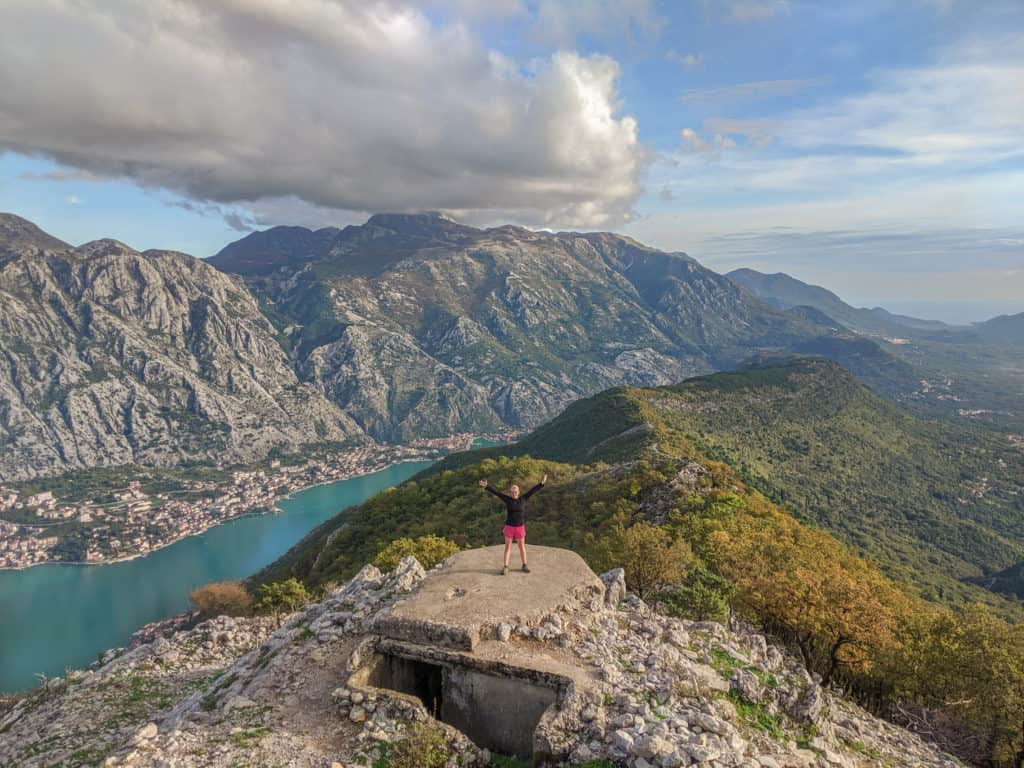 A view of the Bay of Kotor at the top of Vrmac in Montenegro