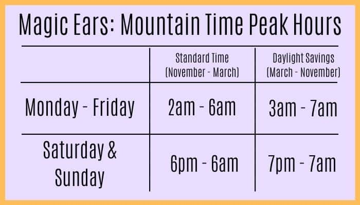 Magic Ears Hours Conversion Chart For Mountain Time