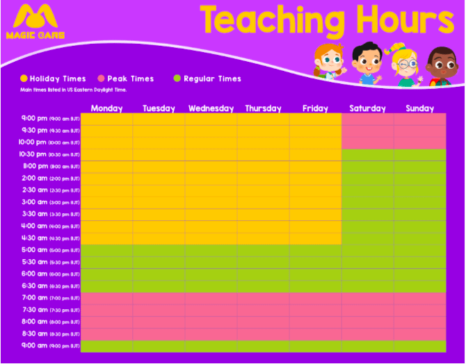 All Available Magic Ears Teaching Hours Chart.