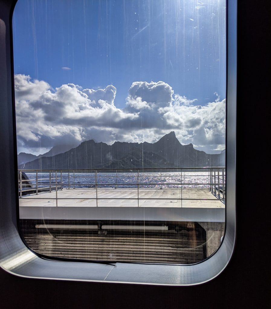 A Distant View of Moorea From The Ferry In Tahiti